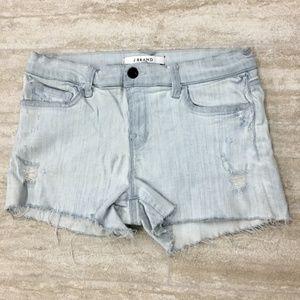 New J Brand Distress Stretch Blue Shorts Size: 30